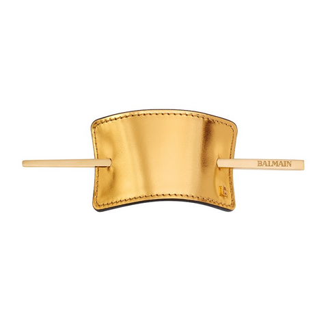 Balmain Genuine Leather Hair Barrette Gold