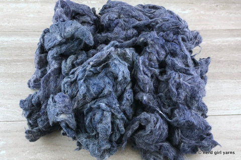 Navy Dyed Recycled Carded Sari Silk - In Stock