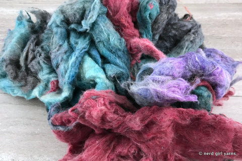Mix Matched Dyed Recycled Carded Sari Silk - In Stock
