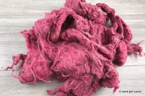 Vermillion Dyed Recycled Carded Sari Silk - In Stock