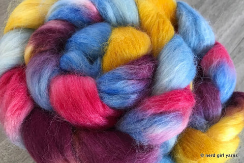Clear as Rainbows Alpaca/Merino/Silk 2.5oz Combed Top In Stock