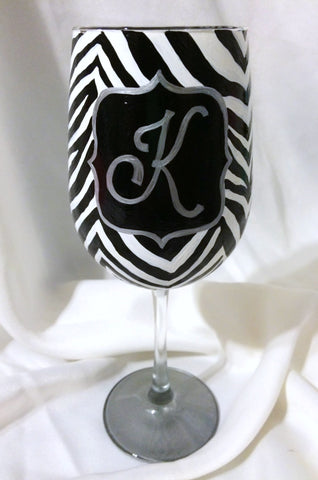 MONOGRAM ZEBRA WINE GLASS