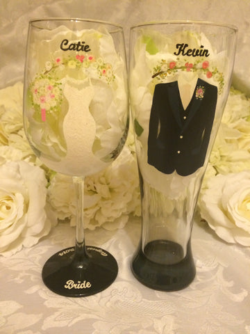 BRIDE & GROOM WINE GLASSES