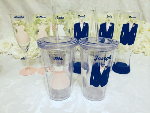 BRIDAL PARTY GLASSES... MIX AND MATCH GLASS STYLES 8 glasses