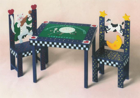 CHILD'S NURSERY RHYME TABLE AND CHAIRS