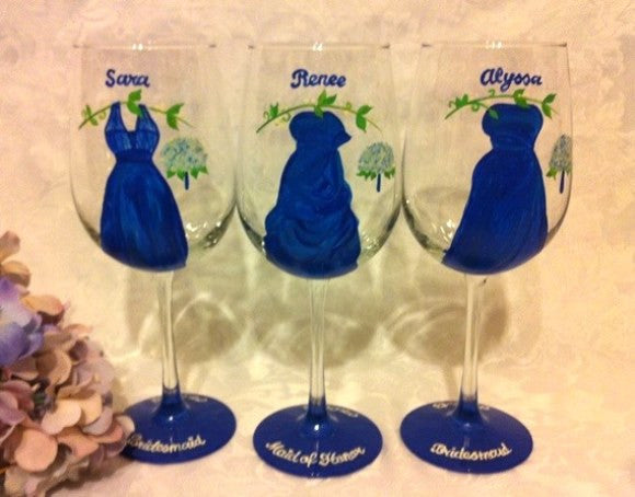 BRIDESMAID DRESS GLASSES Set of 3
