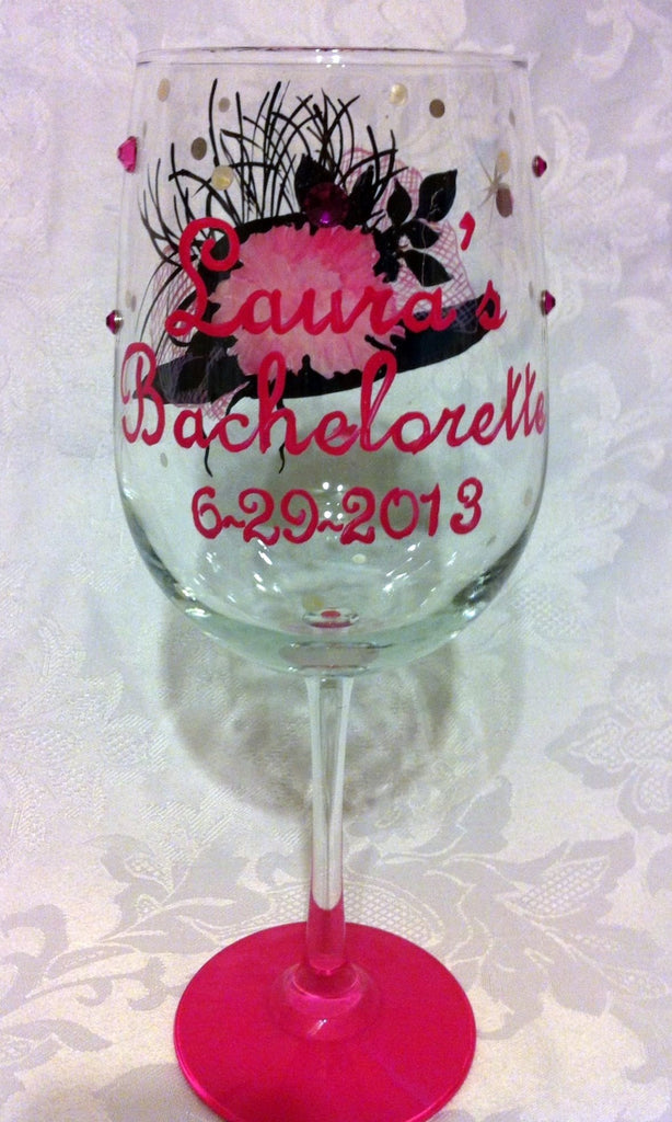 KENTUCKY DERBY PARTY FLOPPY HAT WINE GLASSES 4 GLASSES