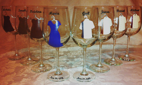 BRIDAL PARTY WINE GLASSES 8 glasses
