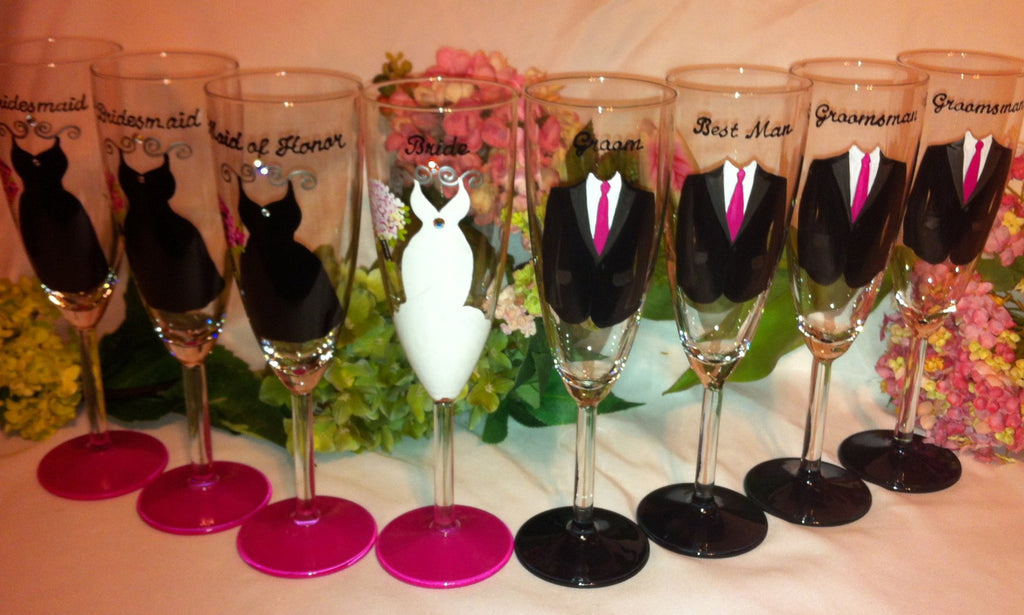 BRIDAL PARTY GLASSES 8 glasses