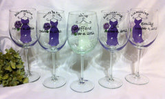 PURPLE BRIDESMAID DRESS WINE GLASSES 5 GLASSES