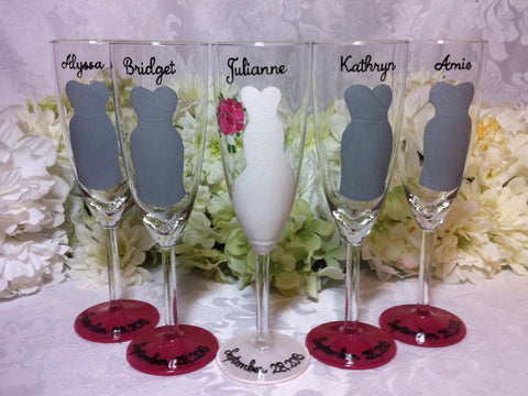5 GREY BRIDESMAID DRESS FLUTES
