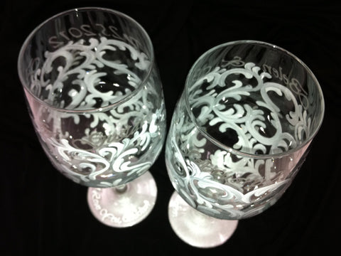SILVER SWIRL WINE GLASSES