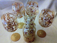 TUSCAN SWIRL & WINE GLASS                                                               SET of 4 glasses
