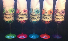 MOMMY'S SIPPY CUP HIBISCUS WINE GLASSES  Set of 5