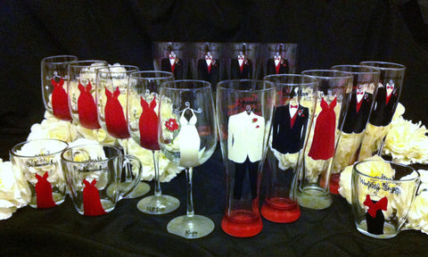 BRIDAL PARTY GLASSES 17 glasses
