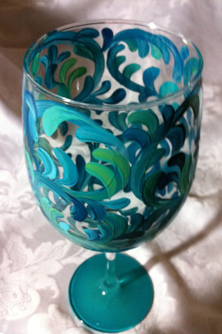 AQUA SWIRL WINE GLASS
