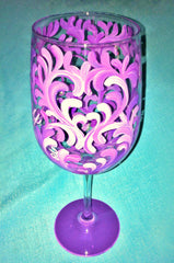PURPLE SWIRL WINE GLASS