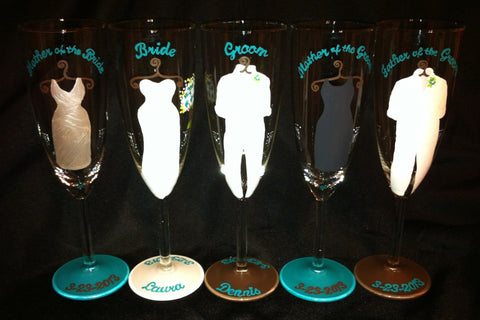 BRIDAL PARTY FLUTES 5 glasses