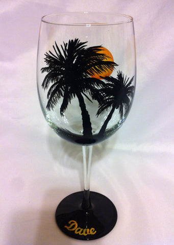 PALM TREE & MOON WINE GLASS
