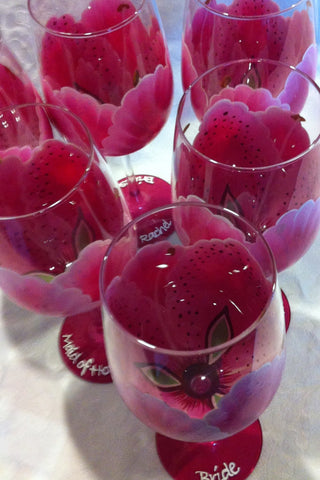 STARGAZER LILY WEDDING FLOWER WINE GLASSES Set of 6 glasses