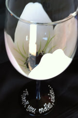 WHITE ANEMONE WEDDING WINE GLASS Set of 6 GLASSES