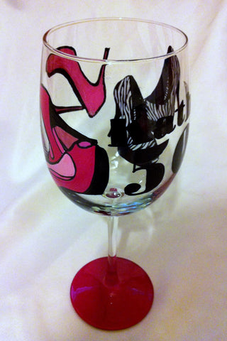 HAPPY 5OTH SHOE WINE GLASS