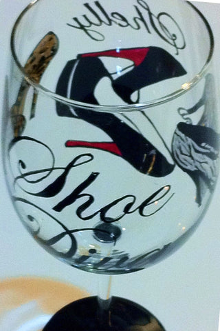 SHOE DIVA WINE GLASS
