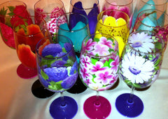 FLOWER WINE GLASSES  Set of 12