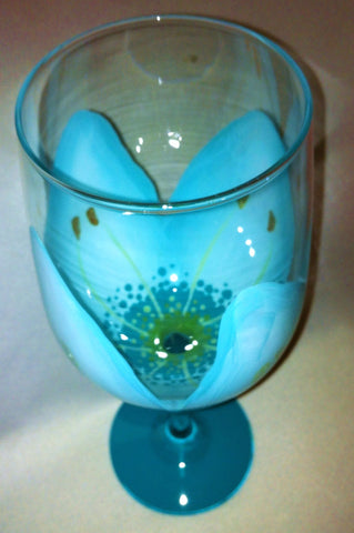 TIFFANY BLUE FLOWER WINE GLASS