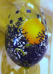 HAND PAINTED WITCH WINE GLASS