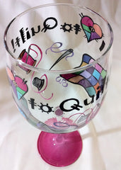 I LOVE TO QUILT WINE GLASS