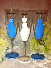 BRIDESMAID DRESS FLUTES 3 glasses