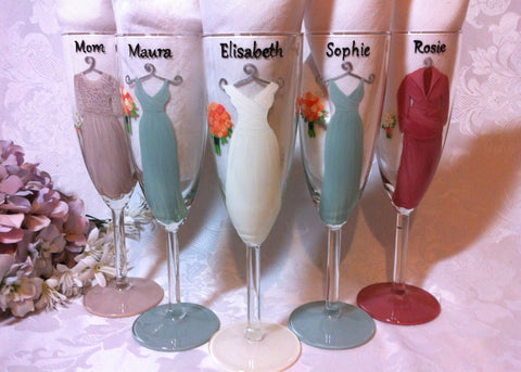 MINT GREEN BRIDESMAID DRESS GLASSES 5 glasses
