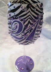 HAPPY 21st ZEBRA WINE GLASS