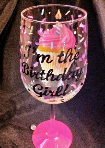 'I'M THE BIRTHDAY GIRL' CUPCAKE WINE GLASS