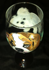 DOUBLE DOG PORTRAIT WINE GLASS