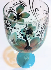 PURPLE HIBISCUS WINE GLASS