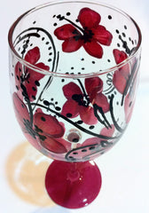 PINK HIBISCUS WINE GLASS