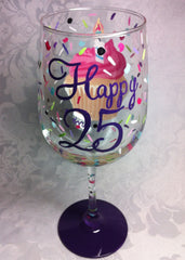 HAPPY 25TH WINE GLASS