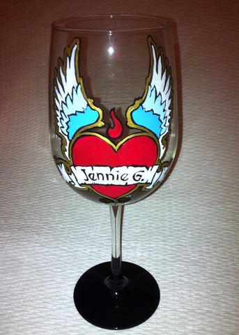 WINGED HEART VALENTINE WINE GLASS