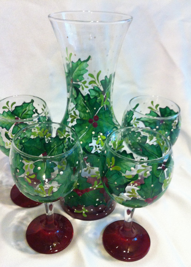 HOLLY BERRY WINE GLASS SET of 4 & CARAFE