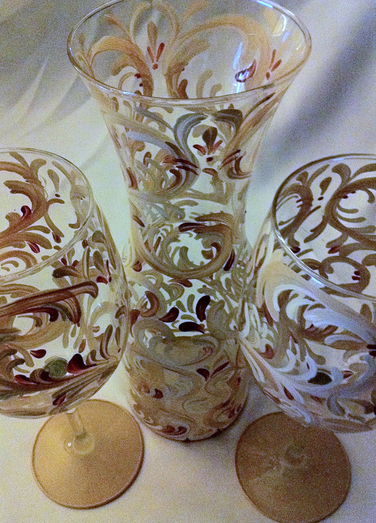 TUSCAN SWIRL CARAFE AND WINE GLASS SET of 2 glasses