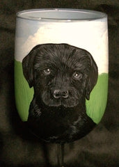 HAND PAINTED LABRADOR RETRIEVER WINE GLASS