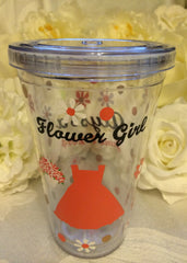 FLOWER GIRL PERSONALIZED PLASTIC TUMBLER
