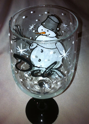 SNOWMAN WINE GLASS