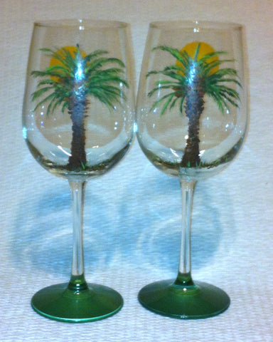 PALM TREE WINE GLASS Set of 2