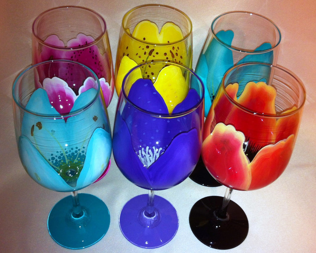 FLOWER WINE GLASSES Set of 6