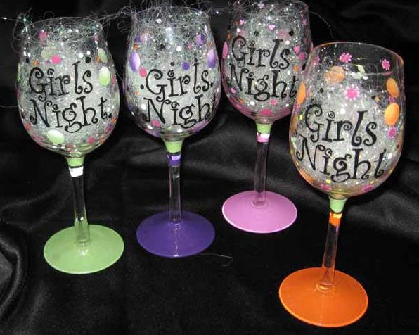 GIRLS NIGHT WINE GLASSES SET OF 4 GLASSES