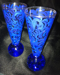 COBALT BLUE SWIRL SHOT GLASSES