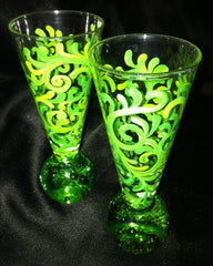 LIME GREEN SWIRL SHOT GLASSES